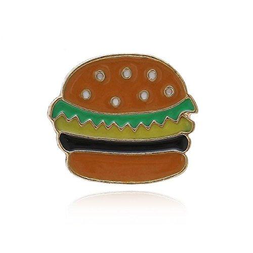 Null Karat Anstecker Pin Burger Hamburger Emaile Metalllegierung butterflyverschluß schmuckrausch