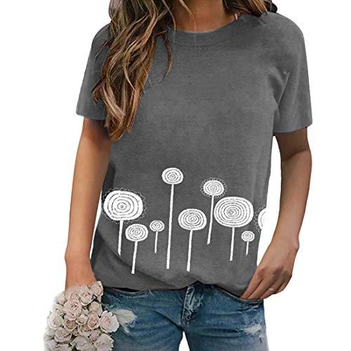 Impreso en 3D Verano Casual Camisetas de Manga Corta Verano Mujer Tops Camiseta Manga Corta de Cuello Redondo Camisa de Moda de Manga Corta Túnica Tops Blusas Impreso Cuello Redondo Camiseta de Mujer