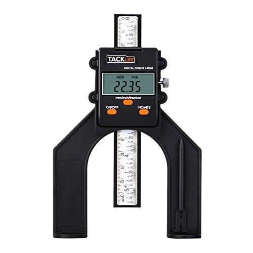 Tacklife MDG01 Tiefenanschlag, 80mm, Anzeige für Tiefe und Höhe, mit Digital-LCD-Display, für Tischlerarbeiten, Router-Tabelle