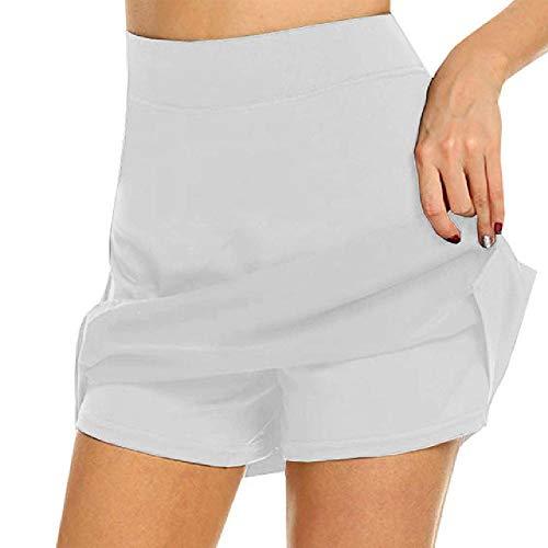 N\P Pantalones cortos deportivos para mujer, falda de tenis para niñas, falda corta para gimnasio, danza, correr, fitness, yoga, pantalones cortos, antivacíos, 2 en 1