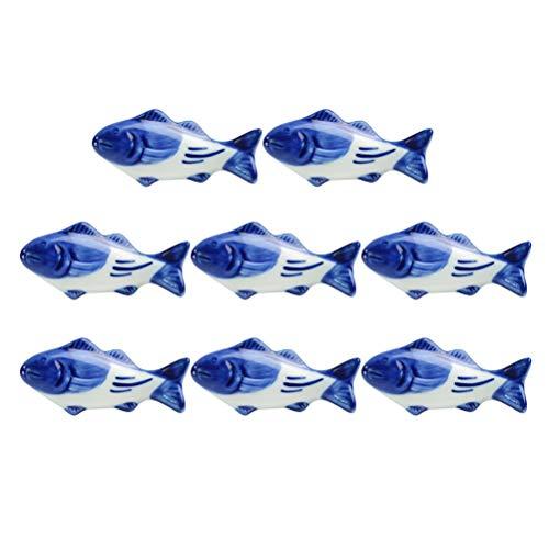 UPKOCH - Supporto creativo per bacchette in ceramica, a forma di pesce, per forchetta, coltello, cucchiaio, supporto per matrimoni, feste, decorazione per la casa e la cucina, 8 pezzi