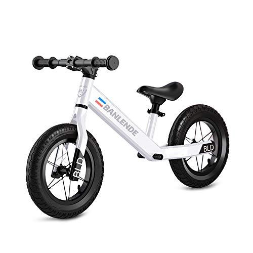"""Zeroall 12"""" Seguridad Bicicleta sin Pedales para Niños de 2-6 Años Bicicleta de Equilibrio Aleación de Aluminio Balance Bike con Sillín Ajustable Excelente Regalo para Niños y Niños Pequeños(Blanco)"""