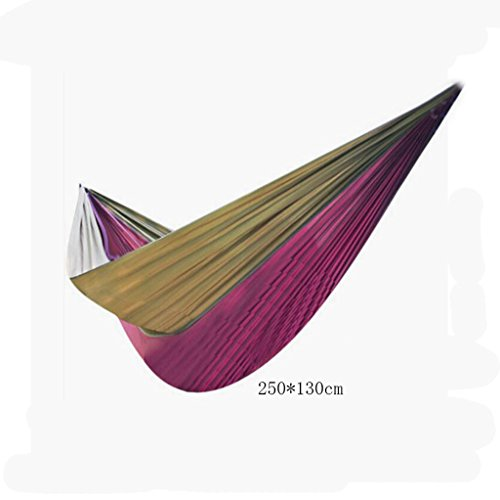 Hamac Outdoor hamac camping camping balançoire hamac hammock alpinisme hamac violet parachute nylon tissu hamac hamac portatif (sac de rangement * 1, corde enfant * 2, crochet * 2), (250 * 130cm)