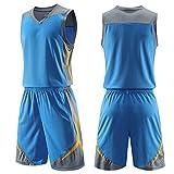 SHOULIEER Conjunto de Camisetas de Baloncesto para Hombres, Ropa Deportiva para Estudiantes universitarios, chándales Blue XL