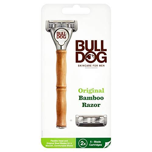 ブルドッグ Bulldog 5枚刃 オリジナルバンブーホルダー 水に強い竹製ハンドル 替刃 2コ付 男性カミソリ ホ...