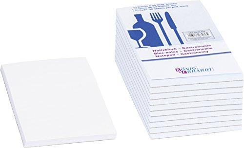 Baier & Schneider Notizblock Gastronomie, Klebebindung,70 g/qm, 75 x 140 mm, Weiß - 10 x 50 Blatt