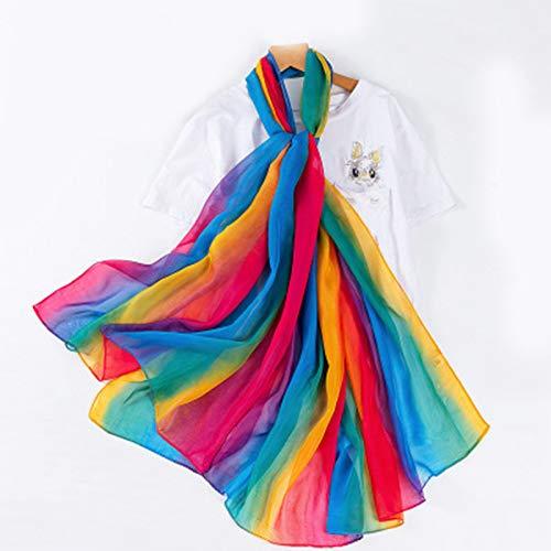 ZXXYTA La Nueva Bufanda de Seda de Color Arco Iris Degradado para Mujer, Bufanda de Seda de Gran tamaño, Bufanda de Gasa de Toalla de Playa de Viaje