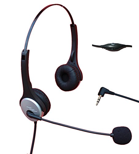 Voistek Call Center Telephone Headphone with NC Microphone + VM Controls for Cisco Linksys SPA Polycom Panasonic Office IP & Many Cordless Dect Phones with 2.5mm Headset Jack (Binaural A2H20D25)