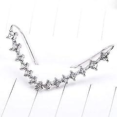 Cabet 7 Crystals Ear Cuffs Hoop Climber Sterling Silver Earrings Hypoallergenic Earring #5