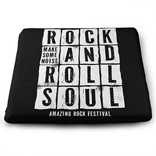 YSWPNA Rock Festival Poster Rock Roll Sign ChairComfortPad ChairPadCushion 15 X 13.8 Inch Removable Washable Anti-dust SeatOutdoorCushions for Office, Kitchen,Home Or Car Sitting