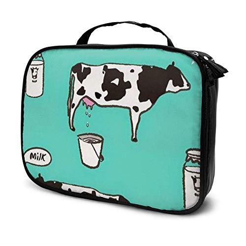 Bolsa de cosméticos de leche de vaca, bolsa de maquillaje grande, bolsa de aseo con cremallera, organizador de viaje para mujeres y niñas