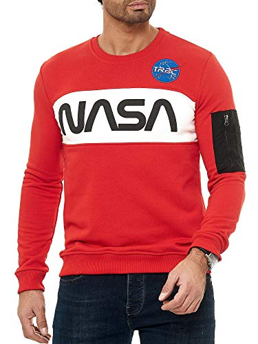 Red Bridge Herren Sweatshirt Pullover NASA Rot XL