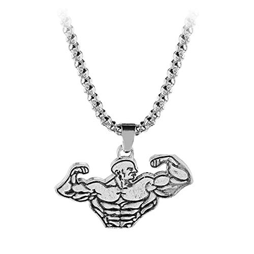 HALLTYG collarVintage Sport Fitness Collar Gimnasio Levantamiento de Pesas Kettlebell Dumbbell Muscular Hercules Dumbbell Colgante Collar Deporte joyería