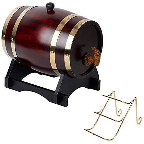 GAXQFEI Whiskey Barrel 20L, Cubo Decorativo de Roble con Grifo con Estante de Vino Adecuado para Alenar Vino, Miel, Cerveza, Agave Mini Barril de Vino (Natural, 20L), Estantes de Vino,Clásico,20L