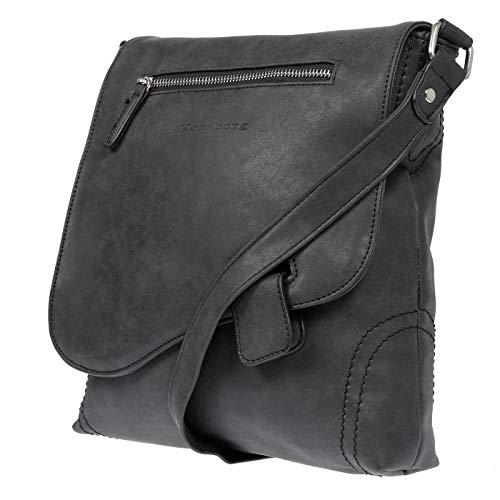 Kossberg Damen Tasche Umhängetasche Schultertasche Handtasche Leder Optik Bag Schwarz