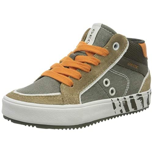 Geox J Alonisso Boy D, Sneaker a Collo Alto Bambino, Verde (Military/Orange C0623), 28 EU