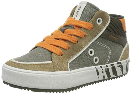 Geox Jungen J Alonisso Boy D Hohe Sneaker, Grün (Military/Orange C0623), 35 EU
