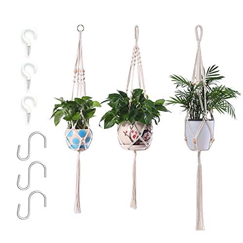 3er Set Makramee Blumenampel, Boho Deko Baumwollseil Hängeampel 6 Haken Blumentopf Pflanzen Halter Aufhänger für Innen Auße Decken Balkone Wanddekoration (Beige)