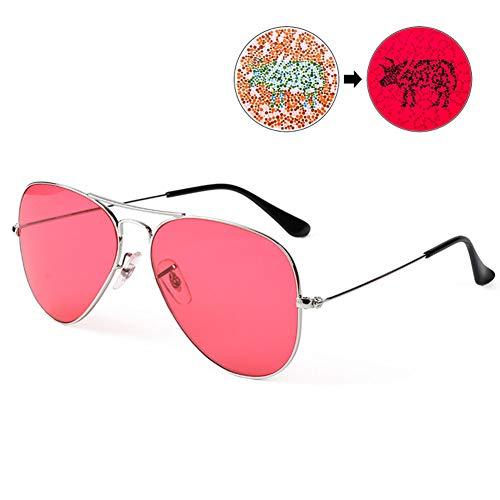 WGXY Farbenblinde Gläser, Rot-Grün-Korrekturgläser, Brillen mit großem Rahmen, Unterscheidungsfarben, Drucken und Färben, Malen, Fahren, Unisex,Rosa