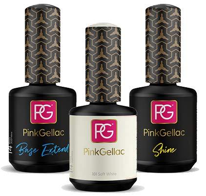 Pink Gellac 101 Soft White Shellac Nagellack 15ml + Base Coat Extend 15ml + Top Coat Shine 15ml 1er Pack (1 x 45 ml)