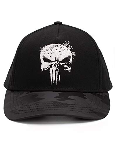 Marvel The Punisher Cap Hombres Adultos Negro Bordado Talla nica Snapback