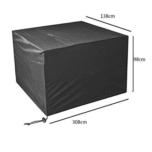 Meijunter 308 * 138 * 98cm Noir Jardin Meubles Imperméable Boîtier étui Protecteur pour Carré Cube Table Banc
