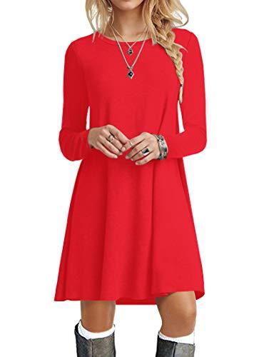POPYOUNG Women's Long Sleeve T Shirt Dresses Casual Swing Dress L, Red