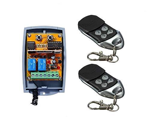 Universel 2 Canaux Rolling Code Récepteur sans fil + 2 handsender, à faire fonctionner chaque automatisation Porte de Garage/Alarme/quelques Autres Appareils 12–24 V DC, 433,92 MHz No/Nc
