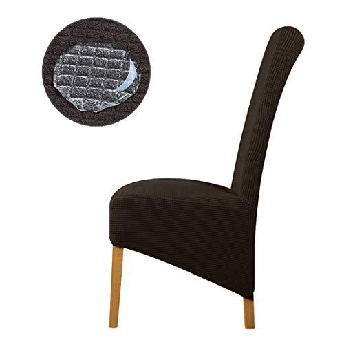 Tireyeres Wasserdicht Oilproof Large Size Big-Stuhl-Abdeckung Europa King Back Seat Hussen für Restaurant Hotel-Partei-Bankett Brown XL Size