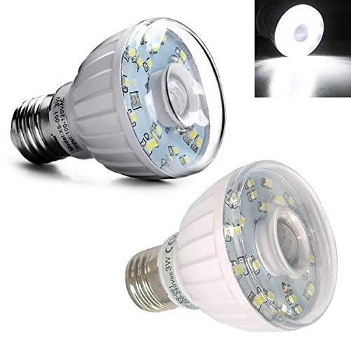 PrittUHU E27 3W SMD3528 Sensor infrarrojo Blanco Puro LED Bombilla para Porche AC100-120V / AC220-240V Foco (Color : 100-120V)
