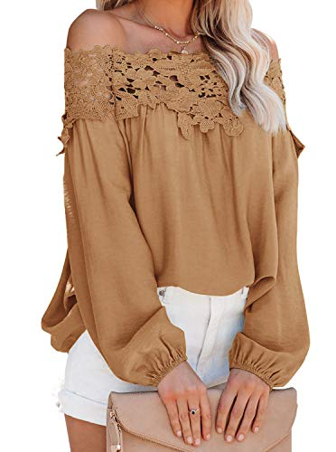 Women Lantern Long Sleeve Lace Crochet Off The Shoulder Tops Casual Loose Blouses Shirt Brown Small