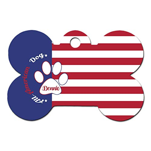 BRGiftShop Personalized Custom Name Paw Print All American Dog USA Flag Red White Blue Bone Shaped Metal Pet ID Tag with Contact Information