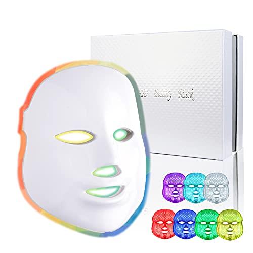 LED Mask Light Therapy| 7 Color Skin Rejuvenation Therapy LED Photon Mask Light Facial Skin Care Anti Aging Skin Tightening Wrinkles Toning Mask Home Light Therapy Facial Care Mask Daily Care