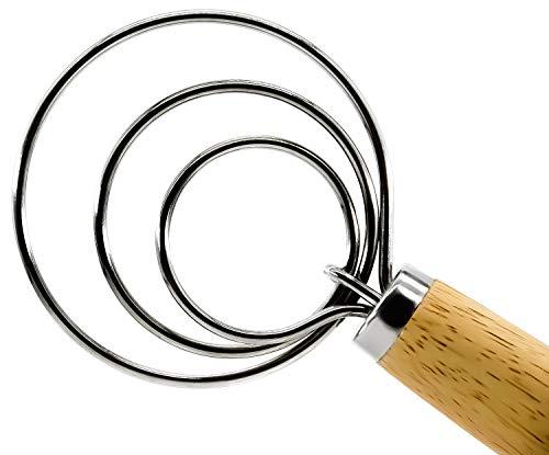 [2021 Newest ] Danish Dough Whisk Hook,13 Inch Dutch Dough Wisk Premium Solid Wood Handle