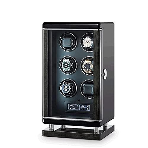 WBJLG Enrollador de Reloj para 6 Relojes automáticos con retroiluminación LED, Control Remoto y cajón de Almacenamiento para Relojes y Joyas, Regalo de Lujo