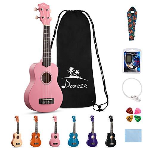 Donner, 4 Soprano Ukulele Ukelele Beginner Kit for Kids Students 21 Inch Rainbow with Bag, Strap,Strings, Tuner, Picks, Polishing Cloth - Pink (DUS-10K)