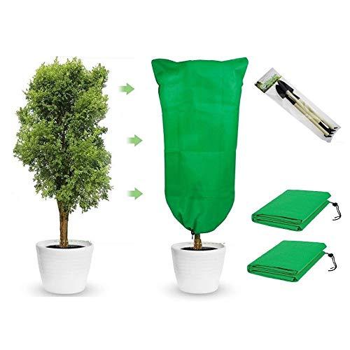 Pack de 2 cubiertas para plantas de protección contra congelación de 23.6 x 31.5 pulgadas, reutilizable con cordón de invierno,...