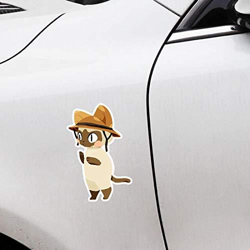 ZQZL 10,2 CM * 16,5 CM Interesante con un Casco Gato PVC Animal Etiqueta engomada del Coche