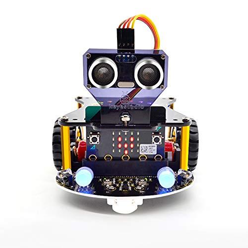 KEYESTUDIO BBC Micro:bit Mini Smart Car Kit para niños a Microbit Programable DIY Codificación Robot con Tutorial (No Micro:Bit Board)