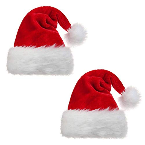 YZ-YUAN 2 Pack Santa Hats for Adults,Soft Plush Christmas Hats Unisex Thicken Warm Velvet Santa Claus Cap with Comfort Liner for Christmas New Year Party Favor, One Size
