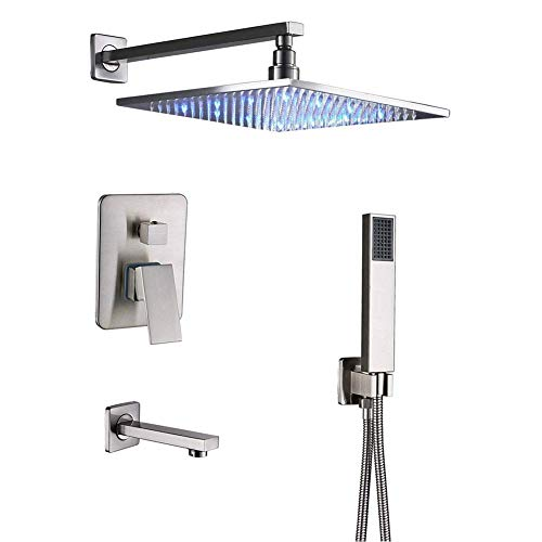 Shower System 12 Inch Brass Bathroom LED Rainfall Mixer Shower Combo Set Wall Mounted with Rainfall Shower Head System Hand Shower Tub Spout Faucet Rough-in Diverter Mixer Valve Body and Trim Included