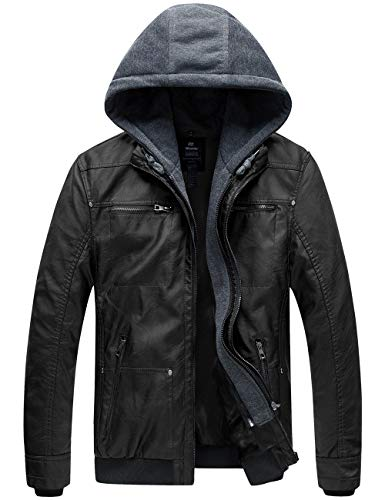 Wantdo Men's Leather Jacket with Removable Hood US Small Black