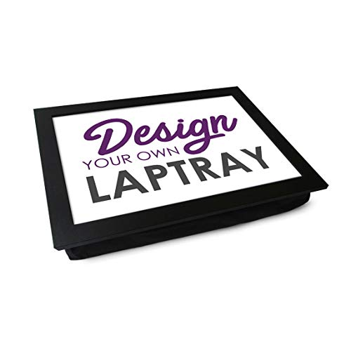 Design Your Own Lap Tray. Handmade Wooden Frame, Beanbag Cushioned Bottom   Computers, Laptops, Meals, Food (Black Frame)