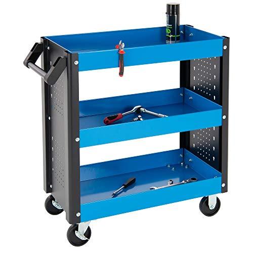 ECD Germany Carro de herramientas taller Metálico con 3 Bandejas Almacenamiento Negro/Azul con 4 Ruedas Carretilla de Servicio Movil Multifuncional Organizadora para Taller Garaje Mecánico