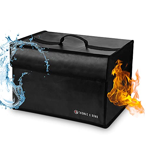 Thomas and Bond Extra Large Fireproof File Organizer System; Includes Fireproof Waterproof Safe and Collapsible File Storage Box For Rigidity; Holds Legal or Letter Size Files; Lightweight; Flexible Material