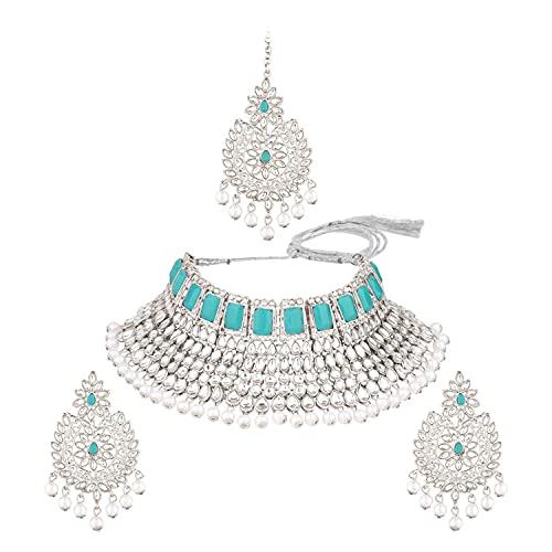 Efulgenz Gargantilla india Kundan Crystal Faux Pearl Collar Pendientes Maang Tikka cabeza cadena Bollywood boda nupcial conjunto para mujeres, Metal, desconocido,