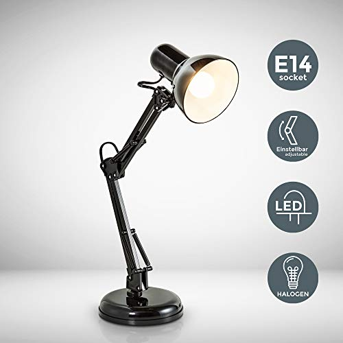 B.K.Licht Retro Leselampe mit Gelenk-Arm aus Metall | LED Halogen E14 | Schreibtischlampe Arbeitsplatzlampe Schreibtischleuchte | 230V | IP20