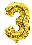 Globo Número 3 Gigante Dorado para cumpleaños, aniversarios, decoración, fiestas