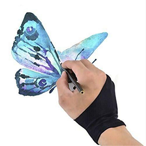DressLksnf Dos Dedos Anti-Fouling Glove Drawing & Pen Graphic Tablet Pad para Artista Negropintar Y Dibujar Guantes de Dos Dedos Antiincrustantes, Antisudor Y Antiincrustantes