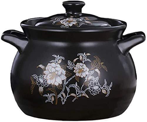 Cocottes Casserole en céramique à cuisinière lente, grès résistant à la chaleur, pot, pot rond, pot d'argile Bibimbap WJHCDDA (Color : Black, Size : 5L)